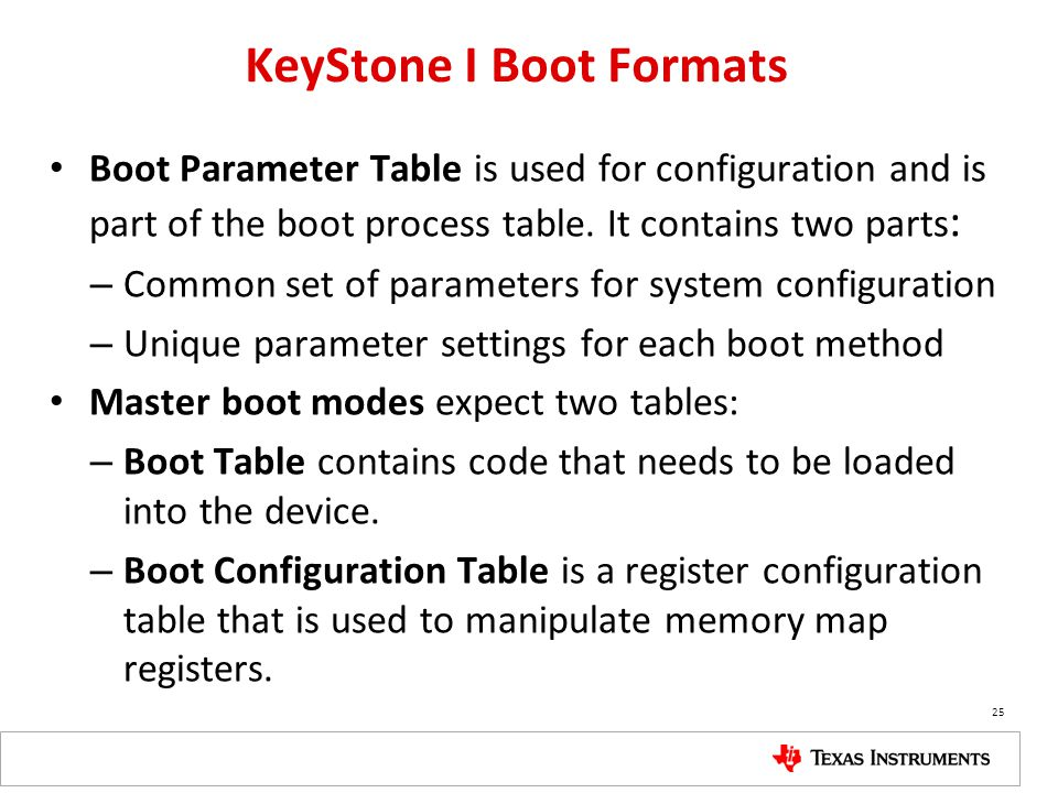 KeyStone I Boot Formats