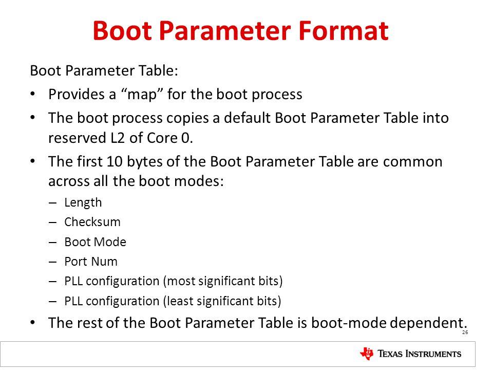 Boot Parameter Format Boot Parameter Table: