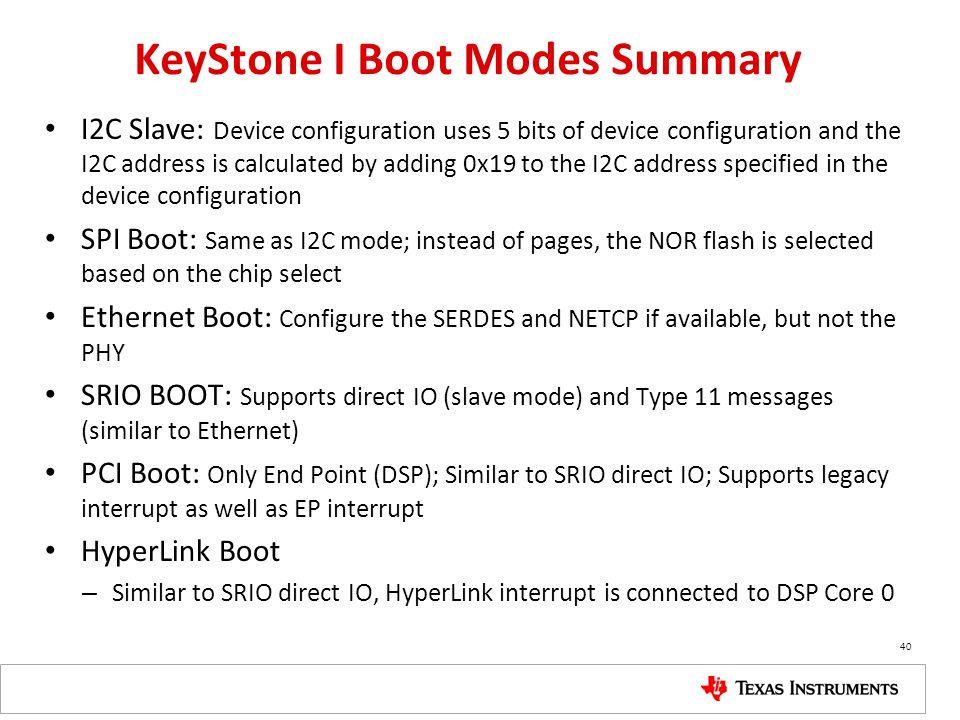 KeyStone I Boot Modes Summary