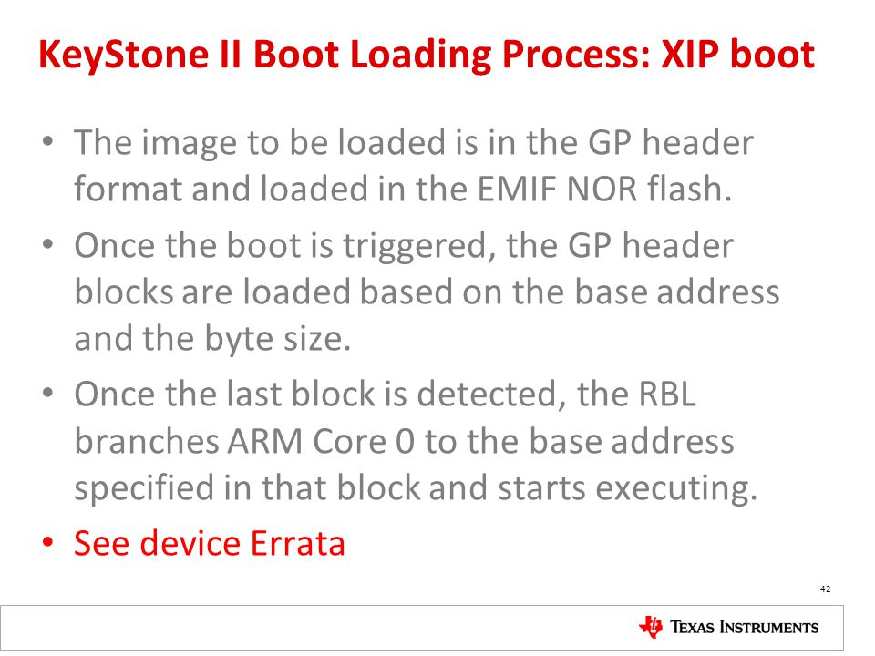 KeyStone II Boot Loading Process: XIP boot