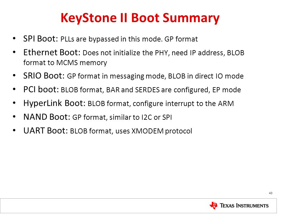 KeyStone II Boot Summary
