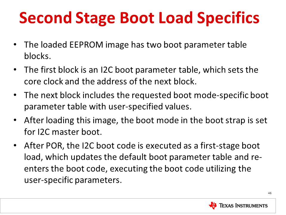 Second Stage Boot Load Specifics