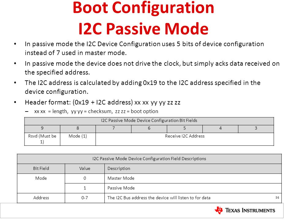 Boot Configuration I2C Passive Mode