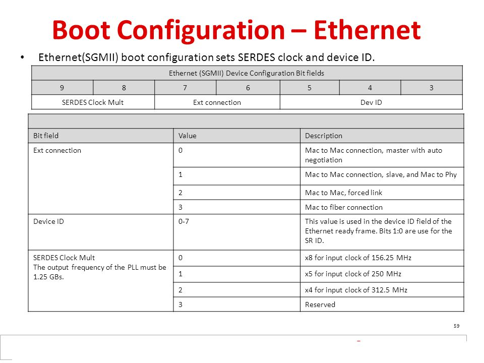 Boot Configuration – Ethernet
