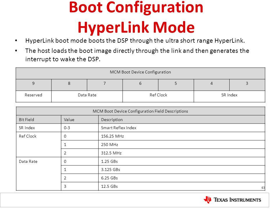 Boot Configuration HyperLink Mode