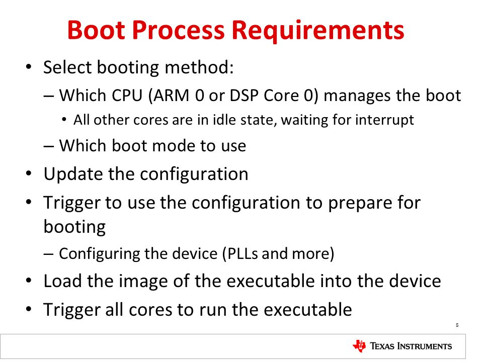 Boot Process Requirements