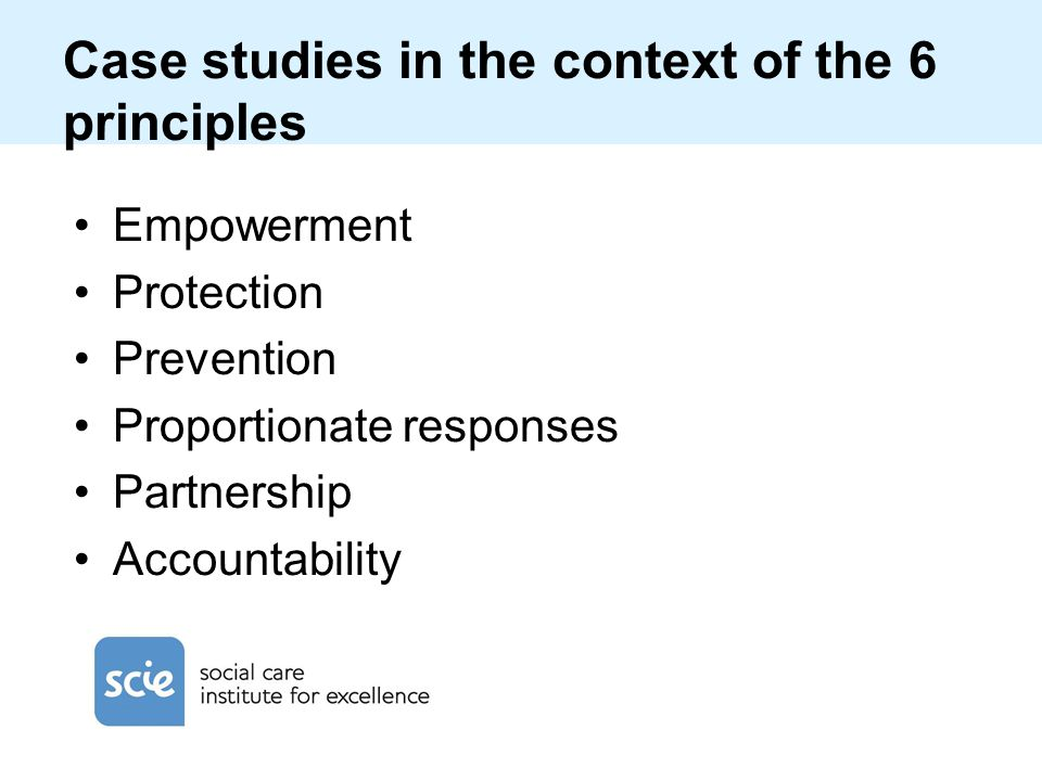 Case studies in the context of the 6 principles