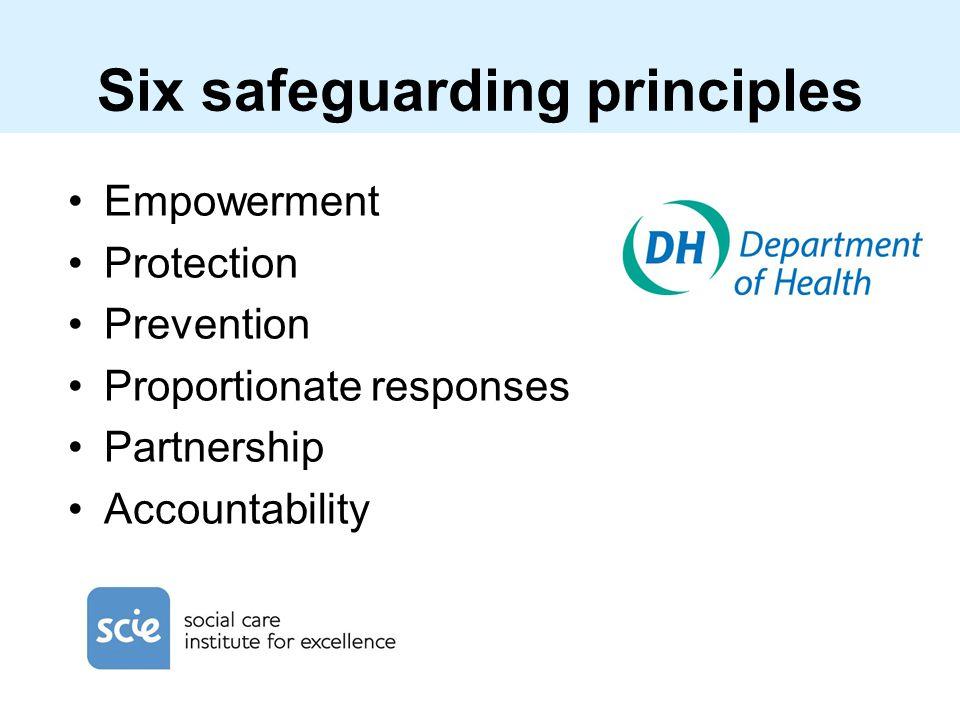 Six safeguarding principles