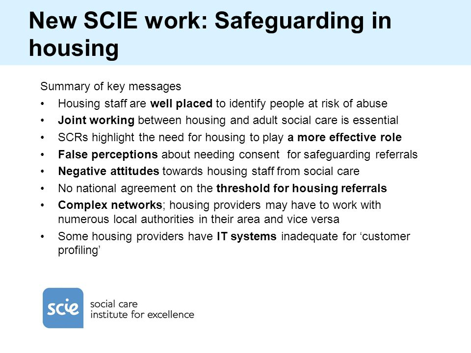 New SCIE work: Safeguarding in housing