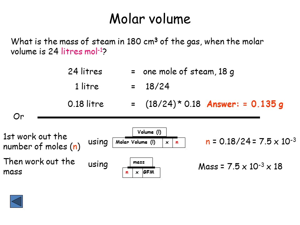 Molar volume What is the mass of steam in 180 cm3 of the gas, when the molar volume is 24 litres mol-1