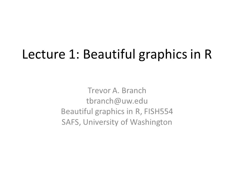 Lecture 1: Beautiful graphics in R