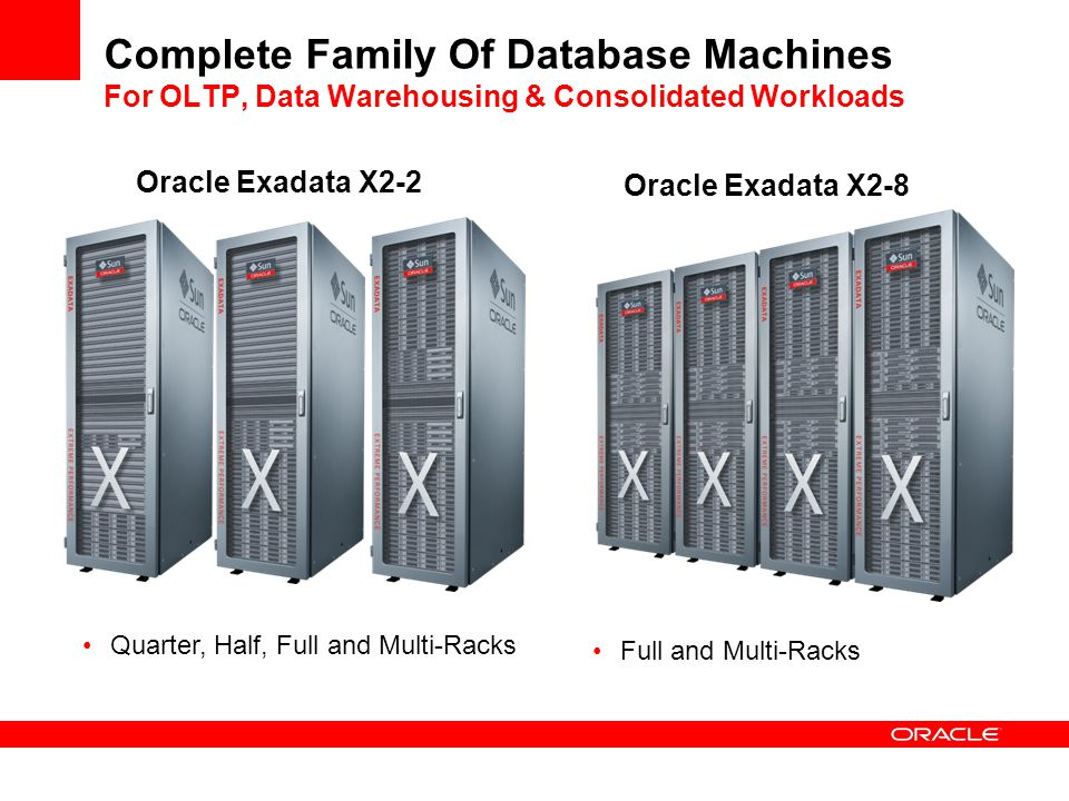 Complete Family Of Database Machines For OLTP, Data Warehousing & Consolidated Workloads
