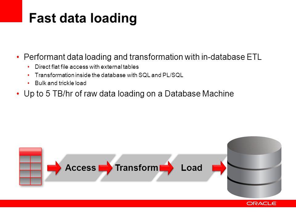 Fast data loading Access Transform Load