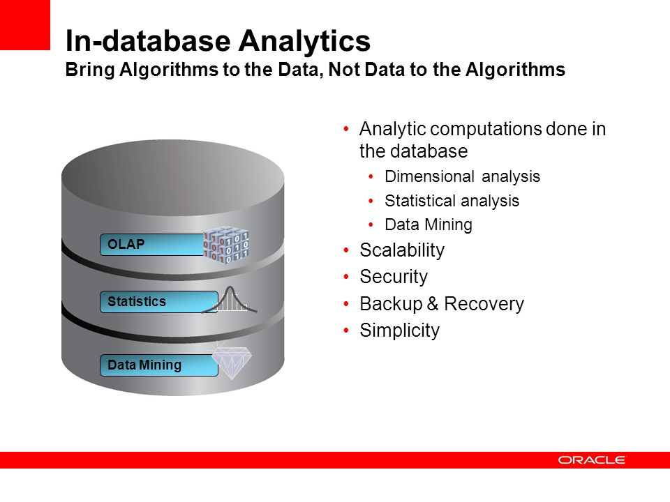 In-database Analytics Bring Algorithms to the Data, Not Data to the Algorithms