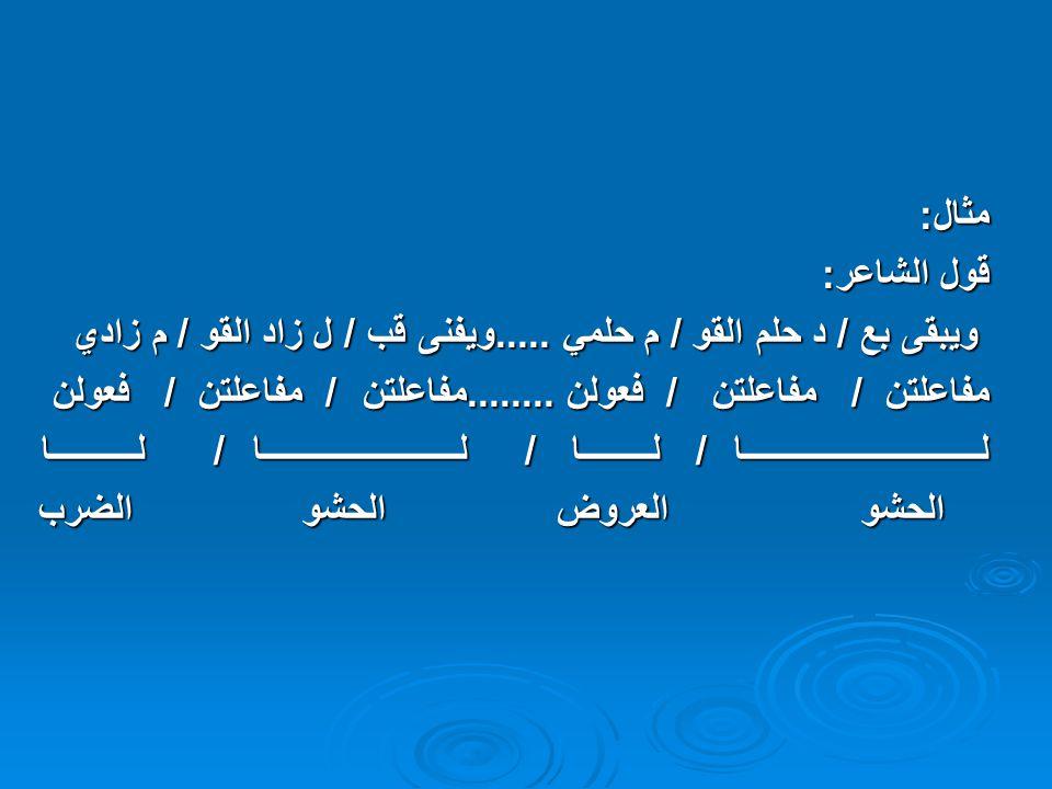 مثال: قول الشاعر: ويبقى بع / د حلم القو / م حلمي .....ويفنى قب / ل زاد القو / م زادي.