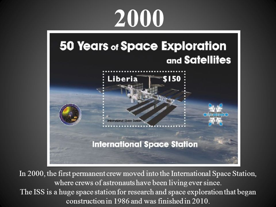 2000 In 2000, the first permanent crew moved into the International Space Station,
