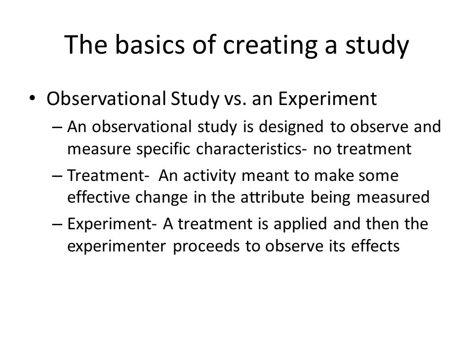 The basics of creating a study