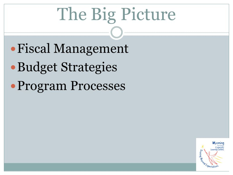 The Big Picture Fiscal Management Budget Strategies Program Processes