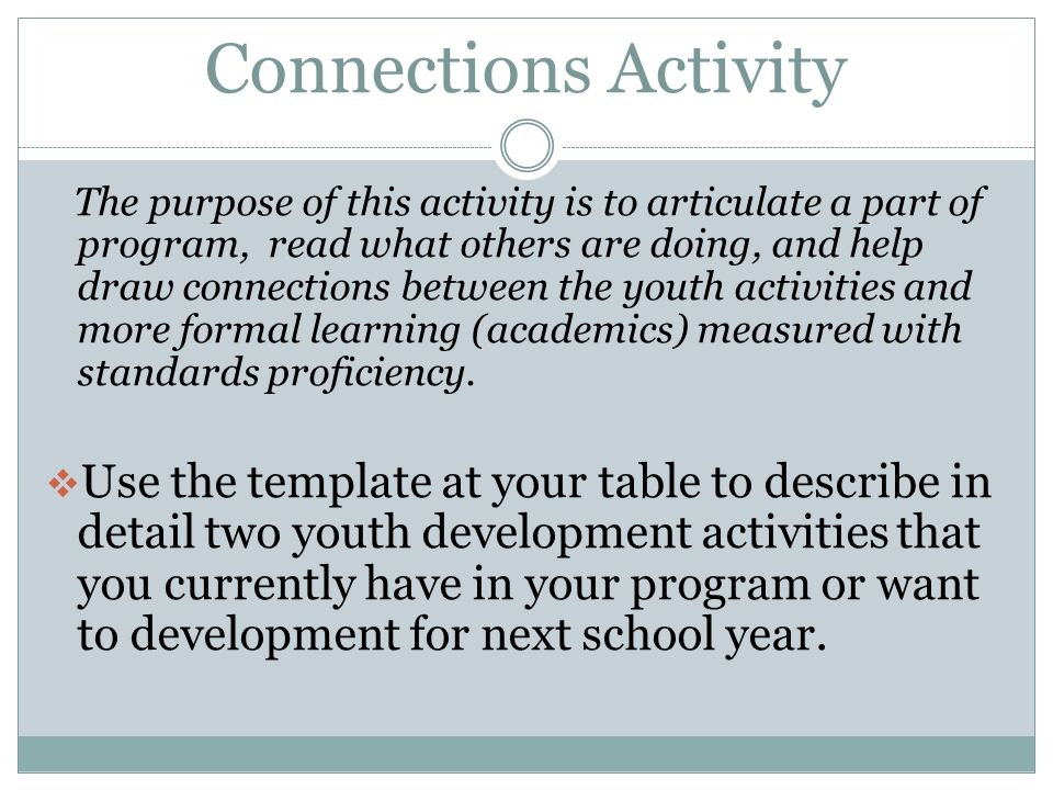 Connections Activity