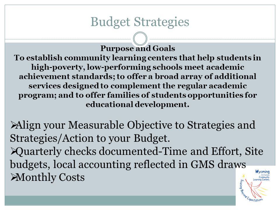 Budget Strategies Purpose and Goals.