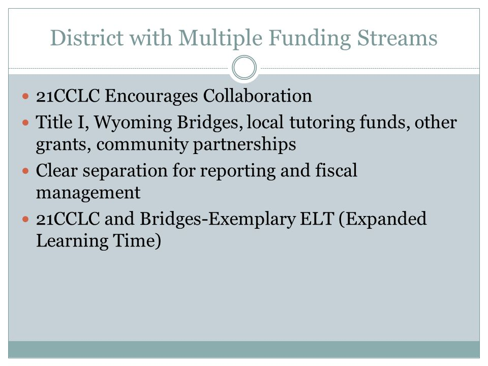 District with Multiple Funding Streams