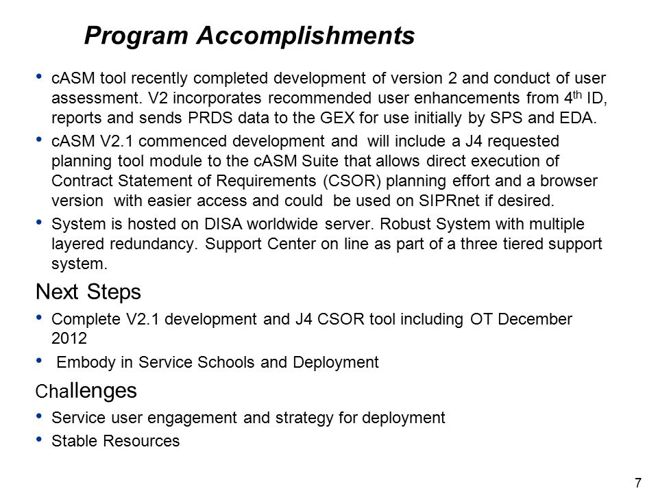 Program Accomplishments