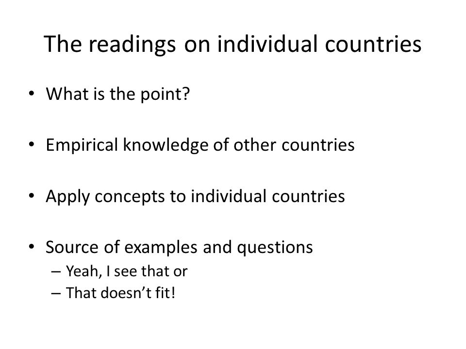 The readings on individual countries