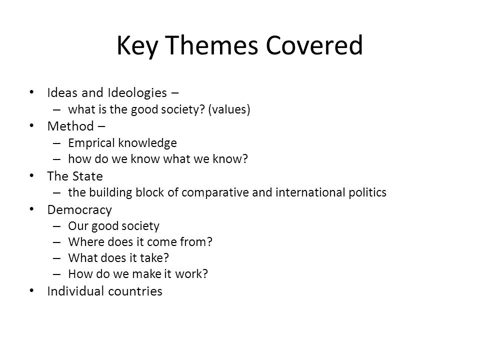 Key Themes Covered Ideas and Ideologies – Method – The State Democracy