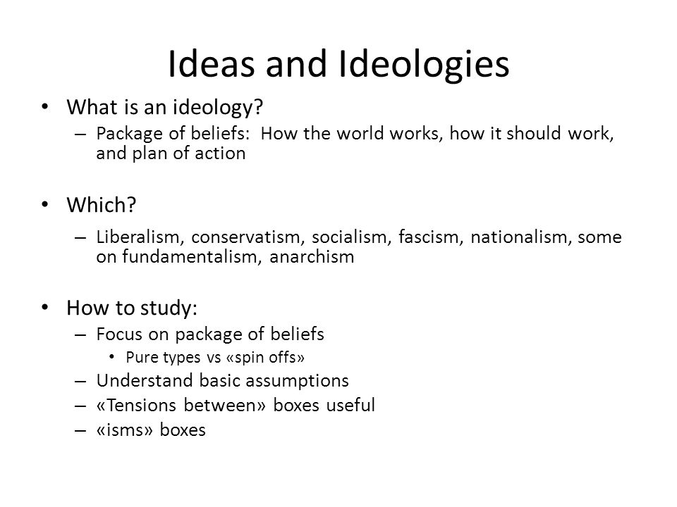 Ideas and Ideologies What is an ideology Which How to study:
