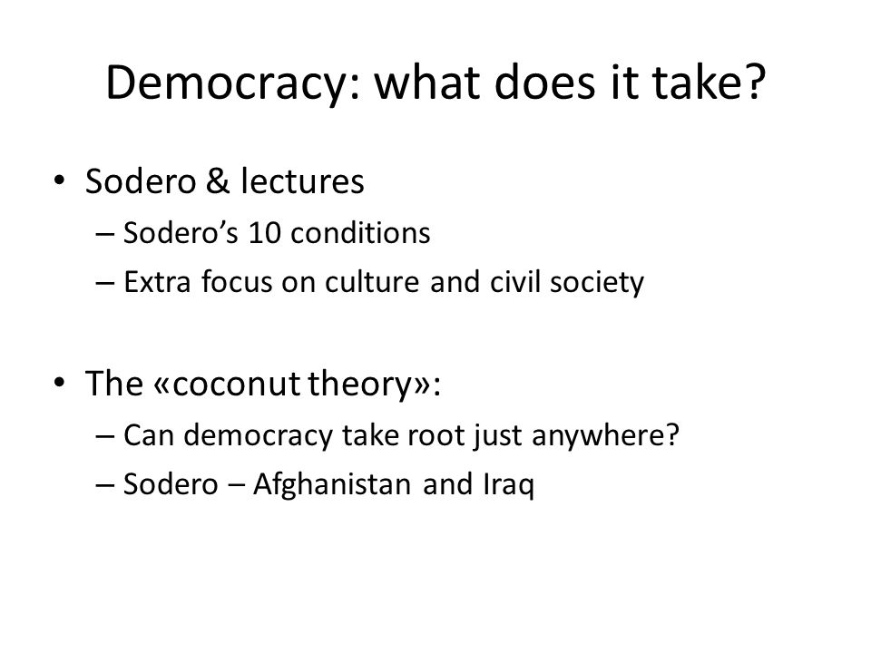 Democracy: what does it take