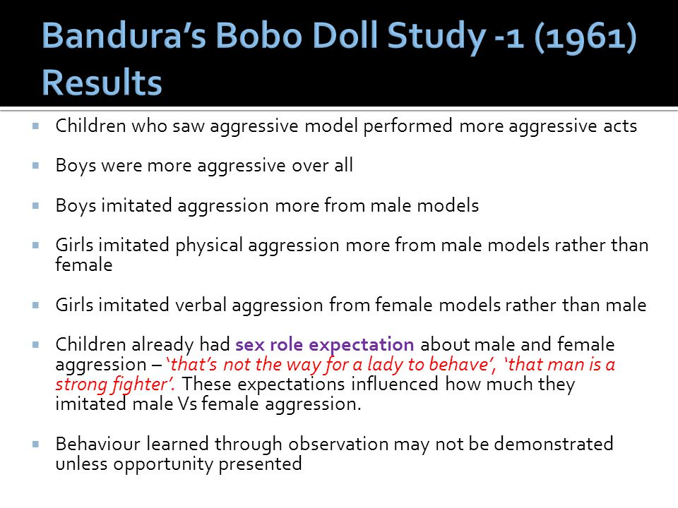Bandura's Bobo Doll Study -1 (1961) Results