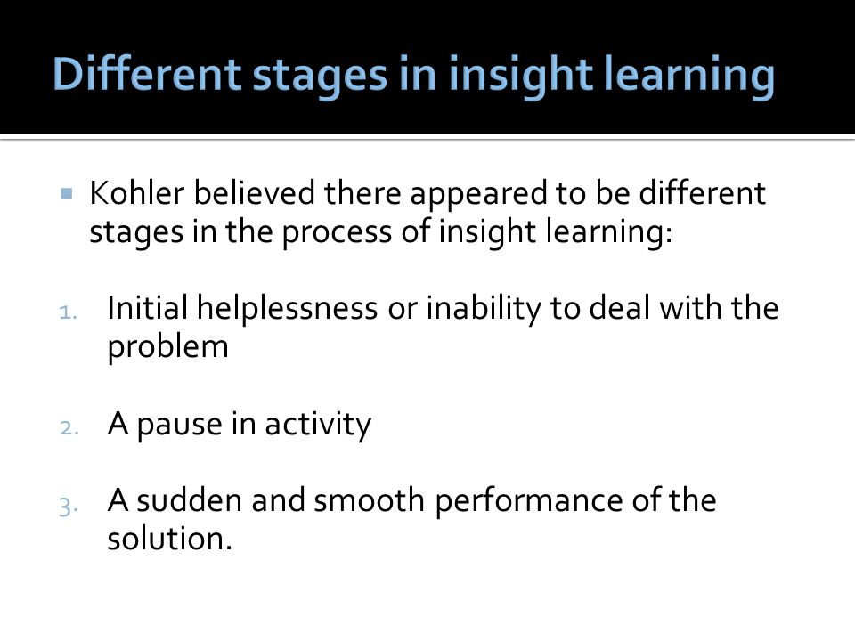 Different stages in insight learning