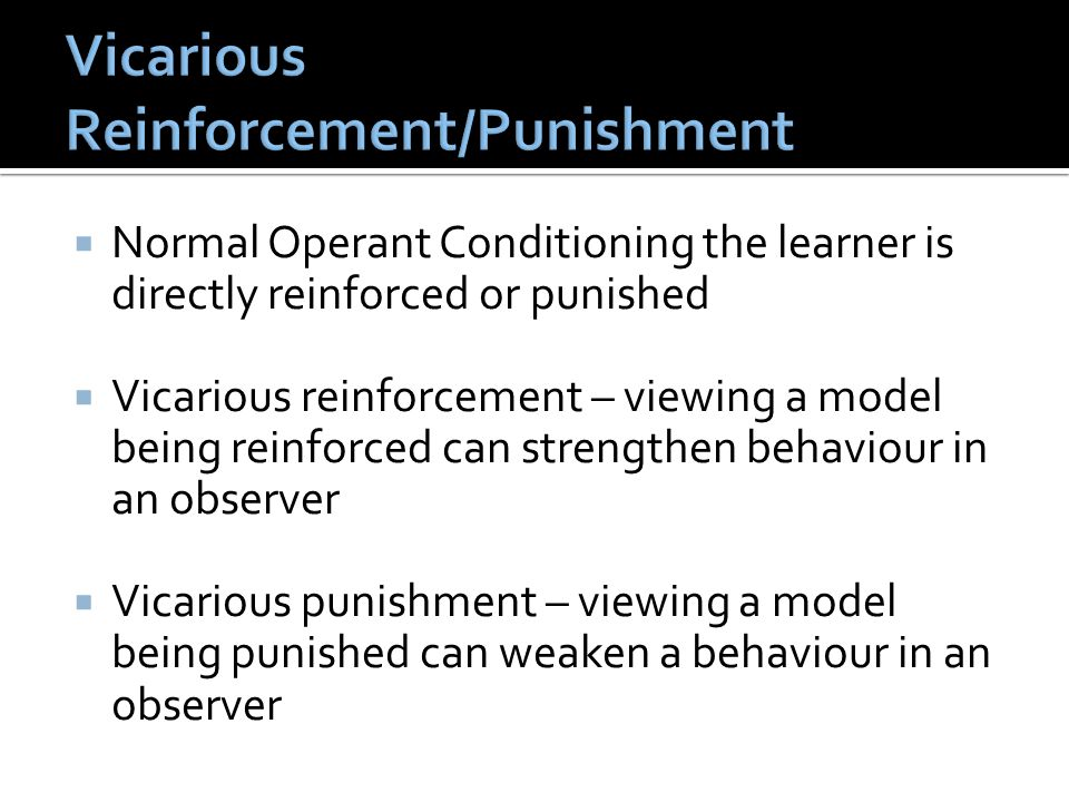 Vicarious Reinforcement/Punishment