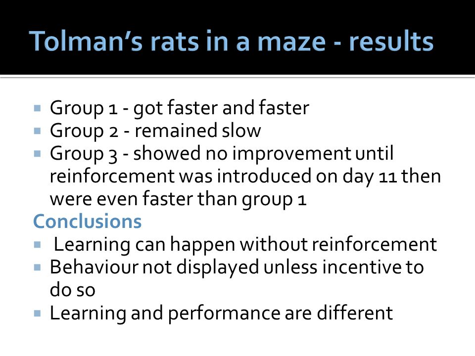 Tolman's rats in a maze - results