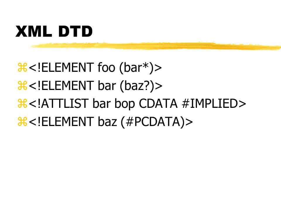 XML DTD <!ELEMENT foo (bar*)> <!ELEMENT bar (baz )>