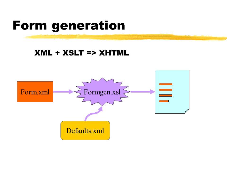 Form generation XML + XSLT => XHTML Formgen.xsl Form.xml