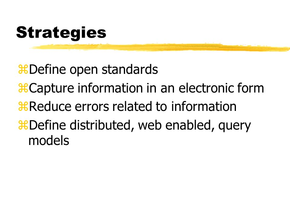 Strategies Define open standards
