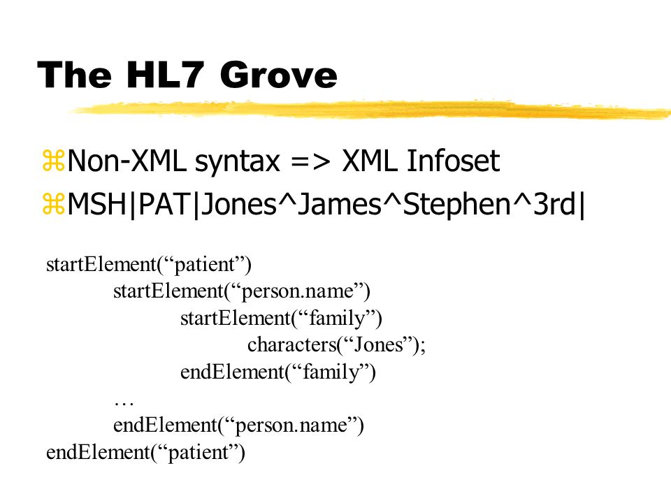 The HL7 Grove Non-XML syntax => XML Infoset