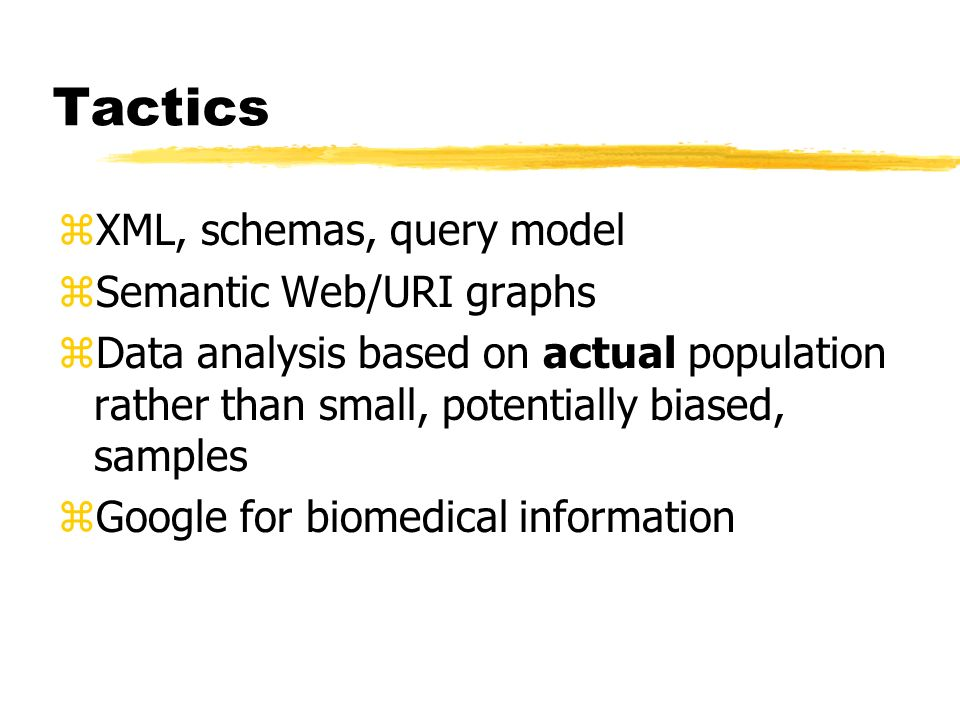 Tactics XML, schemas, query model Semantic Web/URI graphs