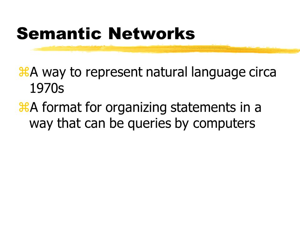 Semantic Networks A way to represent natural language circa 1970s