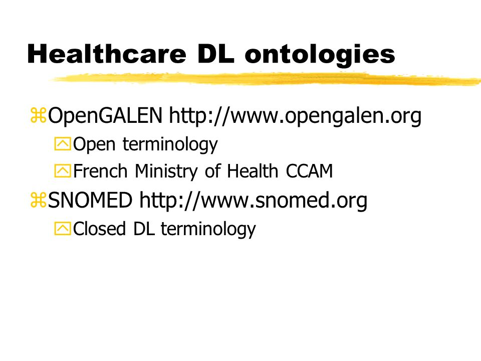 Healthcare DL ontologies