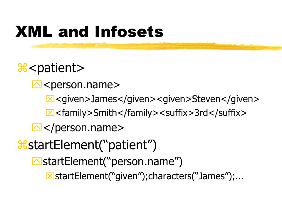 XML and Infosets <patient> startElement( patient )