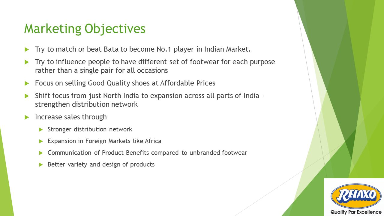 Marketing Objectives Try to match or beat Bata to become No.1 player in Indian Market.