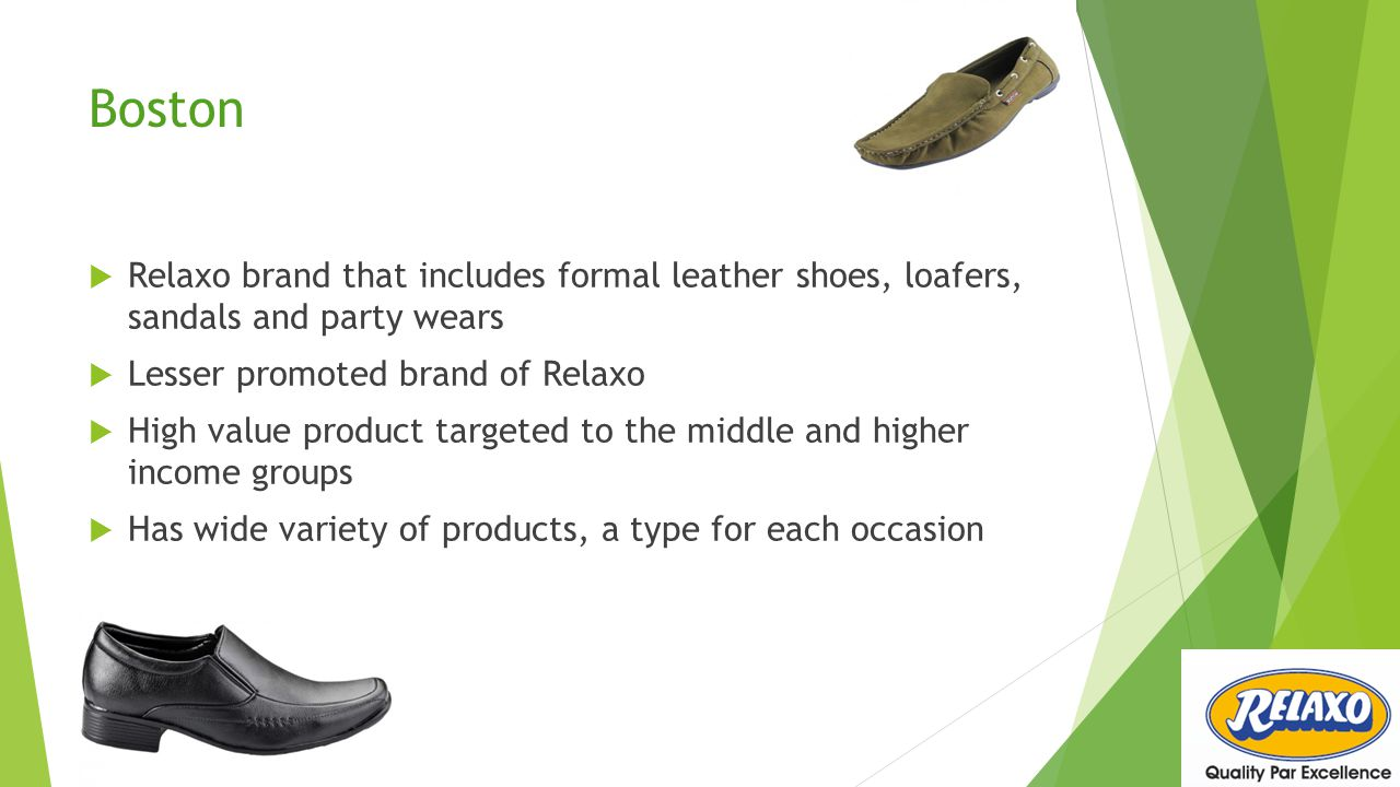 Boston Relaxo brand that includes formal leather shoes, loafers, sandals and party wears. Lesser promoted brand of Relaxo.