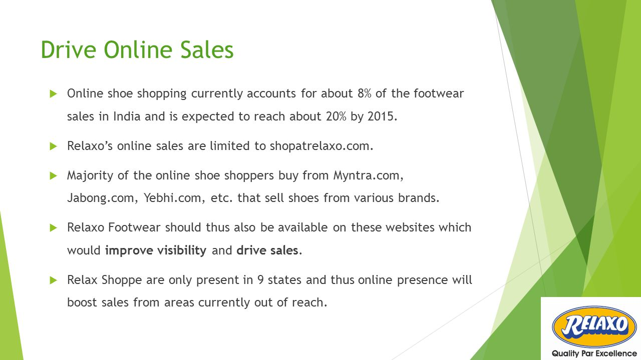 Drive Online Sales Online shoe shopping currently accounts for about 8% of the footwear sales in India and is expected to reach about 20% by 2015.