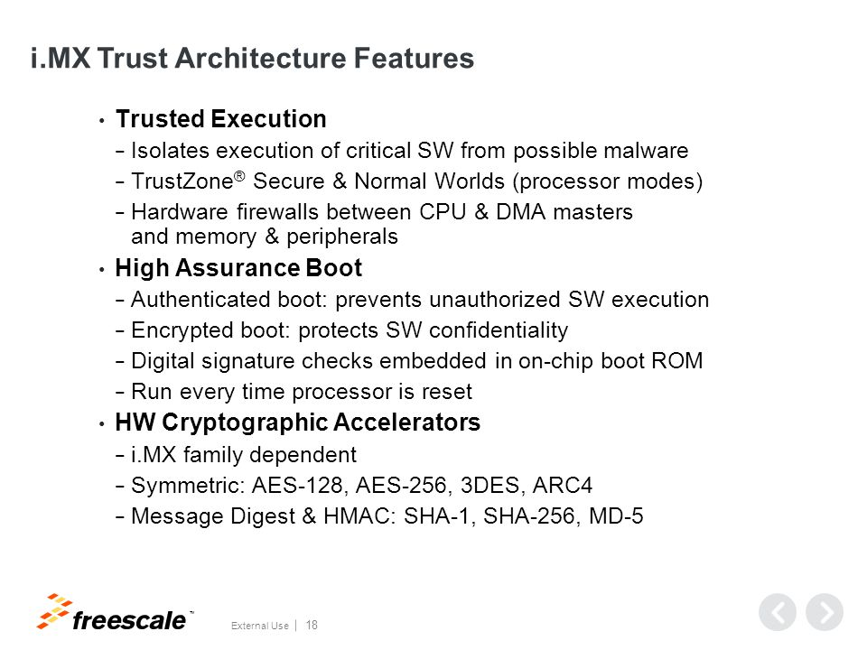 i.MX Trust Architecture Features (continued)