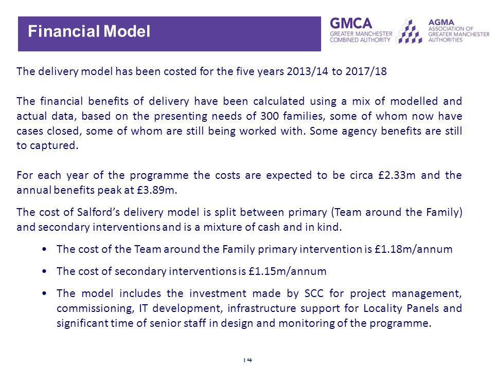 Financial Model The delivery model has been costed for the five years 2013/14 to 2017/18.
