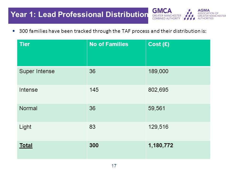 Year 1: Lead Professional Distribution