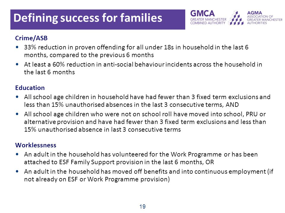 Defining success for families