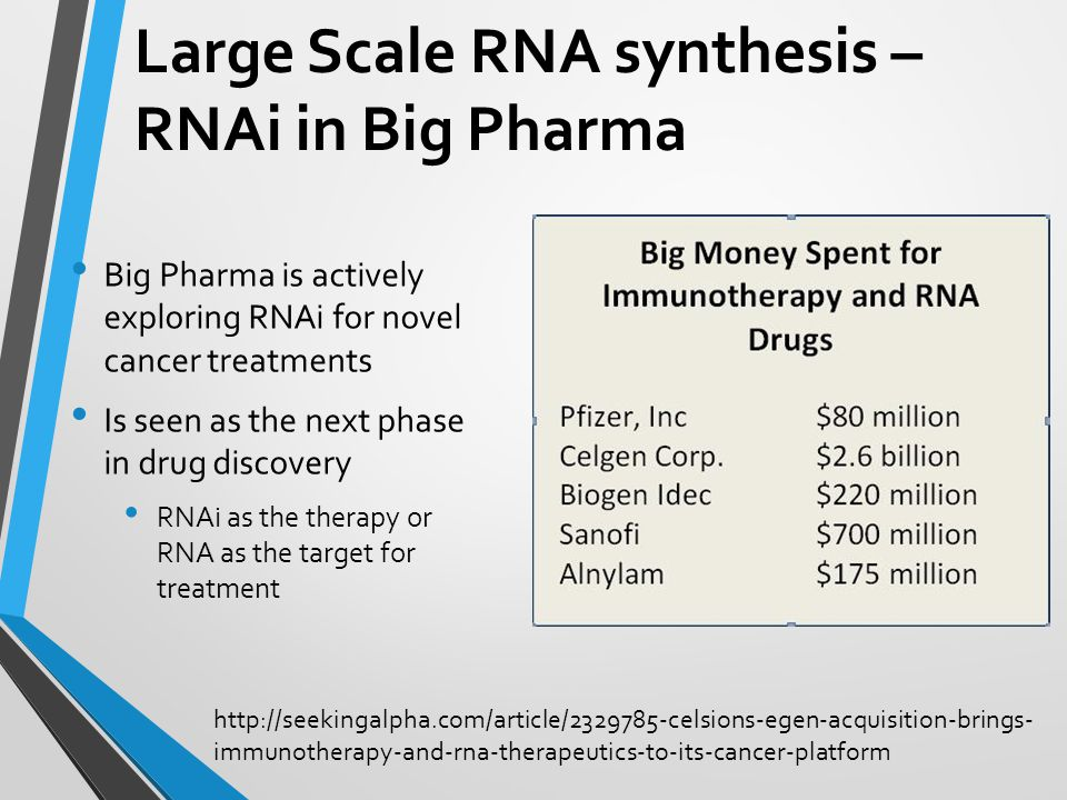 Large Scale RNA synthesis – RNAi in Big Pharma